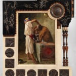 Brafa2020 Galleria Antonacci Frame in wood and various materials with an orientalist painting_Carlo Bugatti