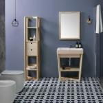 Colavene Alaqua lavabo in ceramica 60x50 bicolor Rosa matt con struttura ad incrocio in legno