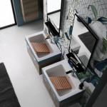 Colavene Alaqua lavabo in ceramica 70x50 bicolor petrolio matt  con mobile sospeso e tavola con strofinatoio in legno