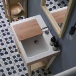 Colavene Alaqua lavabo in ceramica con tavoletta in legno