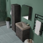 Colavene Alaqua lavabo in ceramica Terra Matt 70x50  Mobile a due ante e completo di colonna e specchio