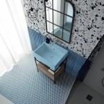 Colavene Acquarella_ Lavabo in ceramica Volant finitura Azzurro Matt