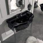 Kerasan Retrò   lavabo 100 e mobile finitura nero lucido