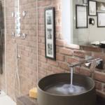 Nobili Rubinetterie DRESS Miscelatore lavabo a parete con rivestimento Legno