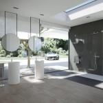 Nobili  VELIS ambientazione con miscelatore lavabo a pavimento e gruppo doccia finitura cromo