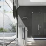 Nobili  VELIS miscelatore lavabo a pavimento e gruppo doccia finitura cromo